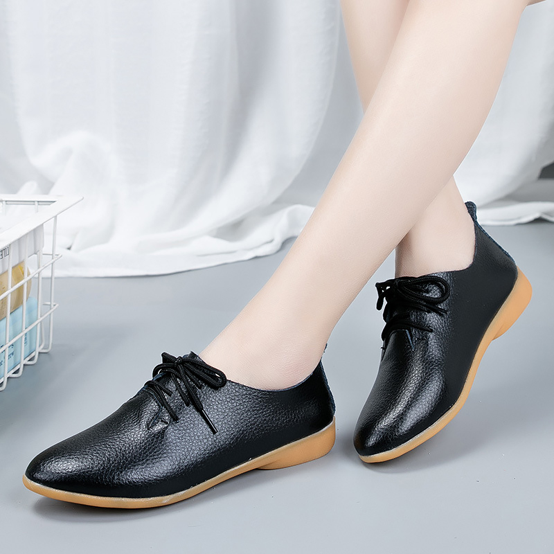 Cheap Genuine Leather shoes woman Plus size 44 Lace up Pointed toe women Moccasin shoes for female Soft Antiskid Flats women 2020 New