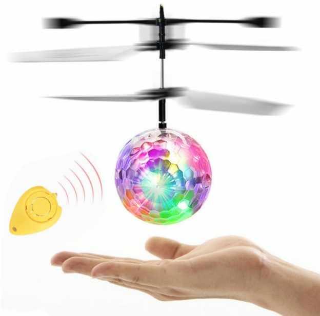 طائرة صغيرة بدون طيار RC يطير الكرة مضيئة للأطفال رحلة كرات طائرة مروحية مصغرة الإلكترونية الأشعة تحت الحمراء التعريفي الطائرات بدون طيار اللعب مصباح ليد