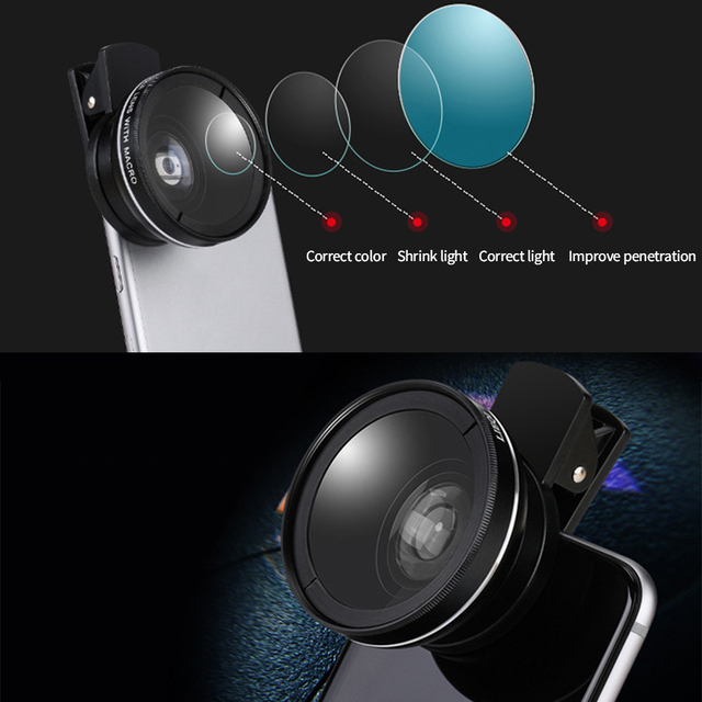 2 IN 1 Lens Universal Clip 37mm Mobile Phone Lens Professional 0.45x 49uv Super Wide-Angle + Macro HD Lens For iPhone Android 3