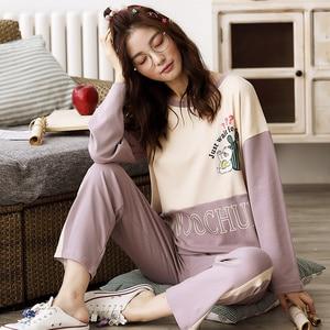 Image 2 - Womens Pajamas Sets Long Sleeve 100% Cotton Pajamas Suit Women Autumn Cactus Print Casual Sleepwear 5XL Pyjamas For Female