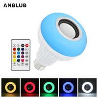 ANBLUB Smart E27 bombilla LED RGB altavoz inalámbrico Bluetooth reproducción de música luz regulable de Audio lámpara RGBW con control remoto