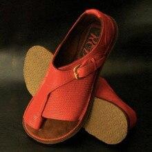 Sandalias informales de verano para mujer, sandalias de cuero Vintage cómodas con hebilla Retro, Sandalias planas con cordones, traje para playa, zapatos de viaje para mujer