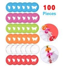 100 шт. разноцветные дисковые зажимы-бабочки, отверстие для грибов, самодельный зажим на 360 градусов, пластиковые зажимы, офисные принадлежно...