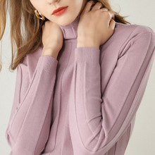 2019 autumn winter new womensturtleneck sweater female long-sleeved solid color pullover short paragraph wild shirt