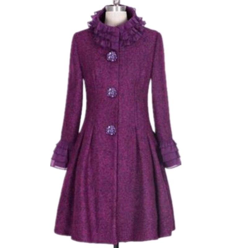 Grande taille 3XL! 2019 hiver vintage col montant manteau en laine femmes slim patchwork princesse laine mélanges manteau