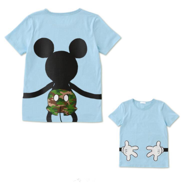 LILIGIRL футболка «Папа и я» летняя одежда для мамы и дочки хлопковый топ с Микки и Минни Маус для мальчиков и девочек, Семейные комплекты - Цвет: Ali913V
