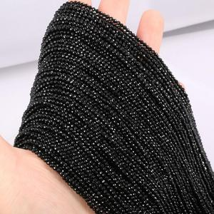 Natural Stone Beads Small section Bead Black spinels 2 3 mm Loose beads for Jewelry Making DIY Bracelet Necklace length 38cm