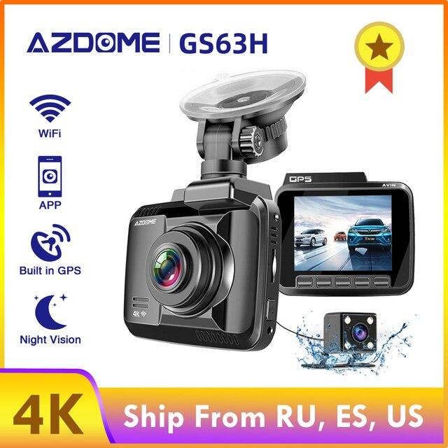 AZDOME GS63H 4K 2160P podwójny obiektyw wbudowany GPS WiFi FHD 1080P przód + VGA tylny aparat samochodowy rejestrator DVR kamera na deskę rozdzielczą Night Vision