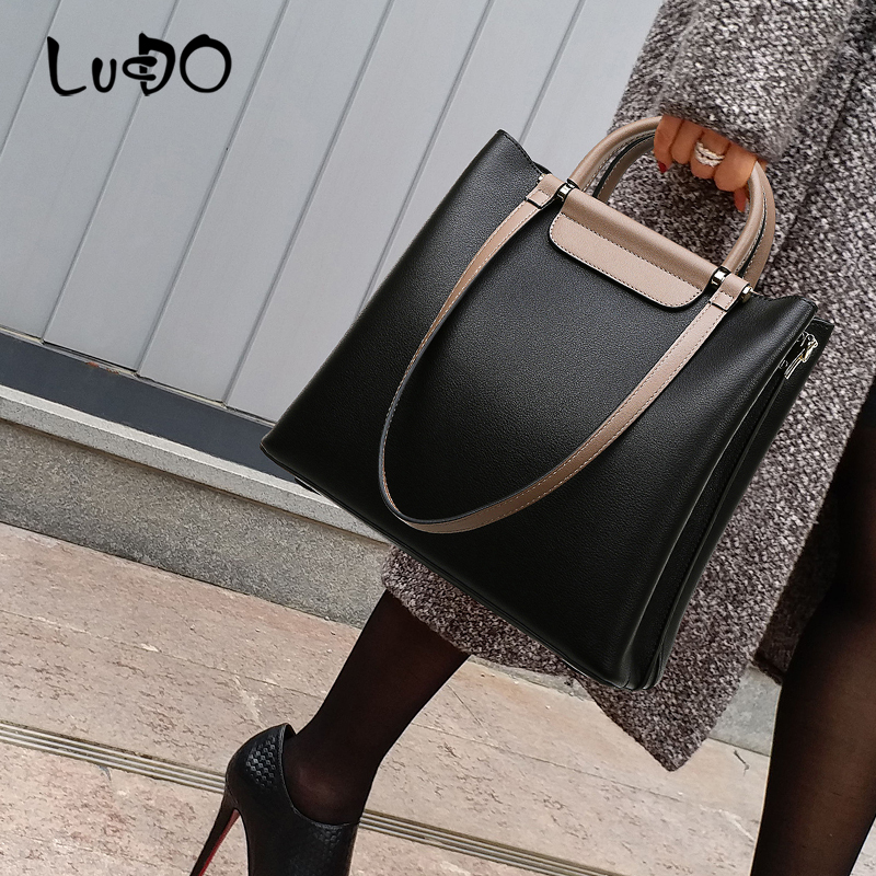 LUCDO Vintage Solid color Leather Luxury Handbag Large capacity Totes bags Casual Ladies Shopping Bag designer women bags sac