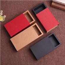 10pcs Kraft Paper Packaging Box Drawer Style Cardboard Boxes Red Corrugated Sleeve For Gift Jewelry Party