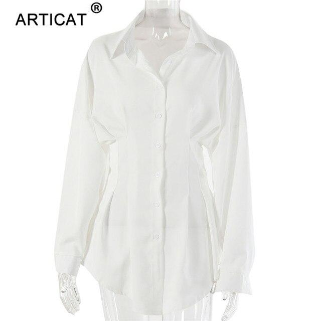 Articat Élégant Femmes Courtes Robe Chemise décontracté Manches Lanterne Simple Boutonnage Mini Robe Col rabattu Blanc Sexy Robe De Soirée