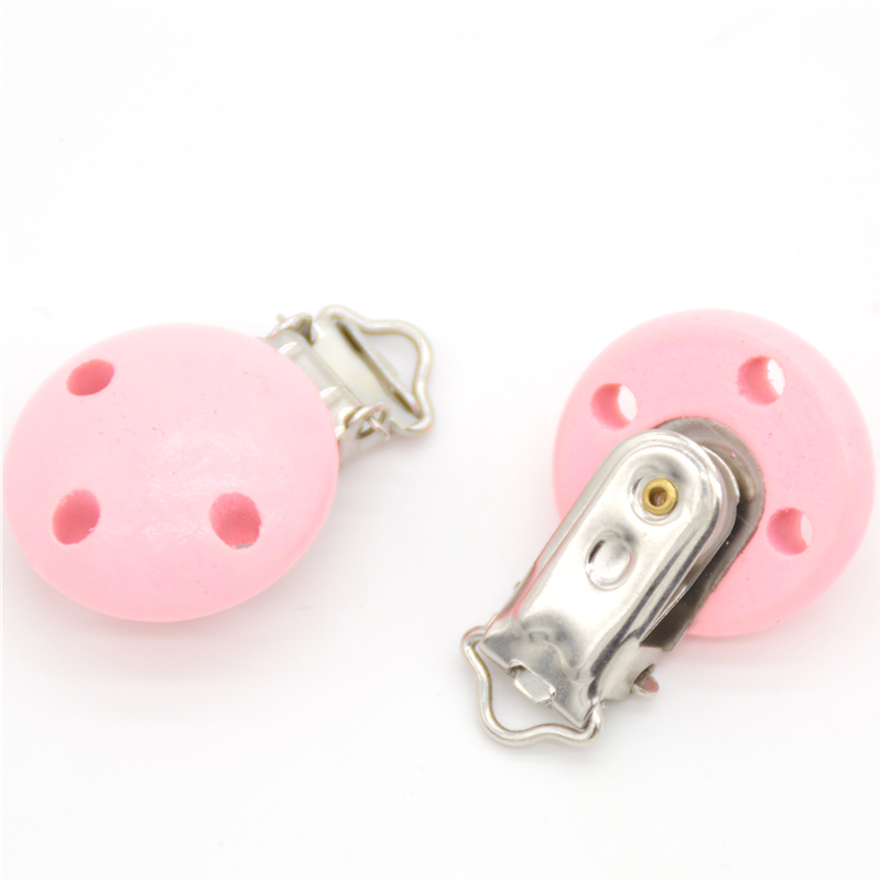 5pcs/lot Wooden Baby Children Pink Pacifier Holder Clip Infant Cute Round Nipple Clasps For Baby Product 3 Hole 4.4cm X 2.9cm