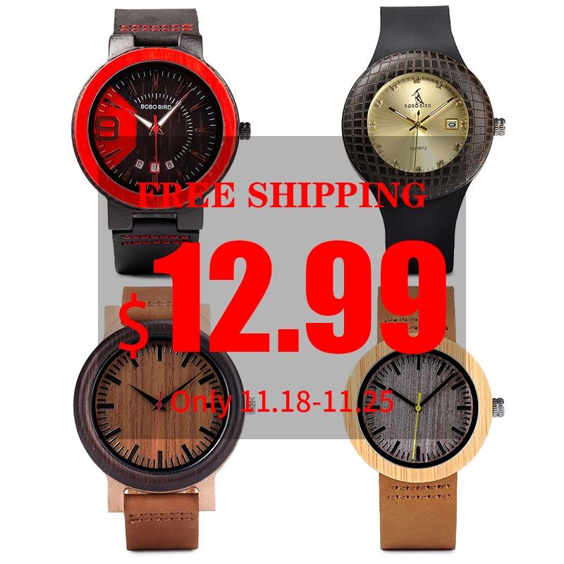 BOBO BIRD Wood Watch Men Ladies Clearance Price Promotion Quartz Wristwatches Women Leather Strap Relogio Masculino Wholesale