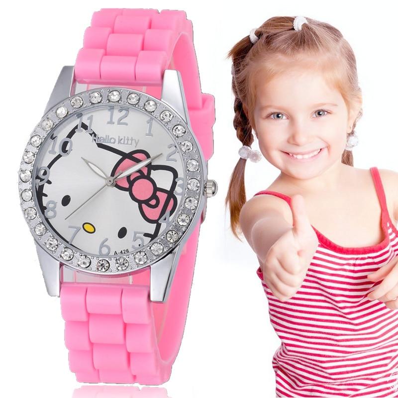 Kids Watches School Girls Dress Wristwatch Cartoon Pink Cat Colck Kids Students Gift Watches Women Kitten Relogio Feminino 2019