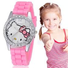 Kids Watches School Girls Dress Wristwatch Cartoon Pink Cat