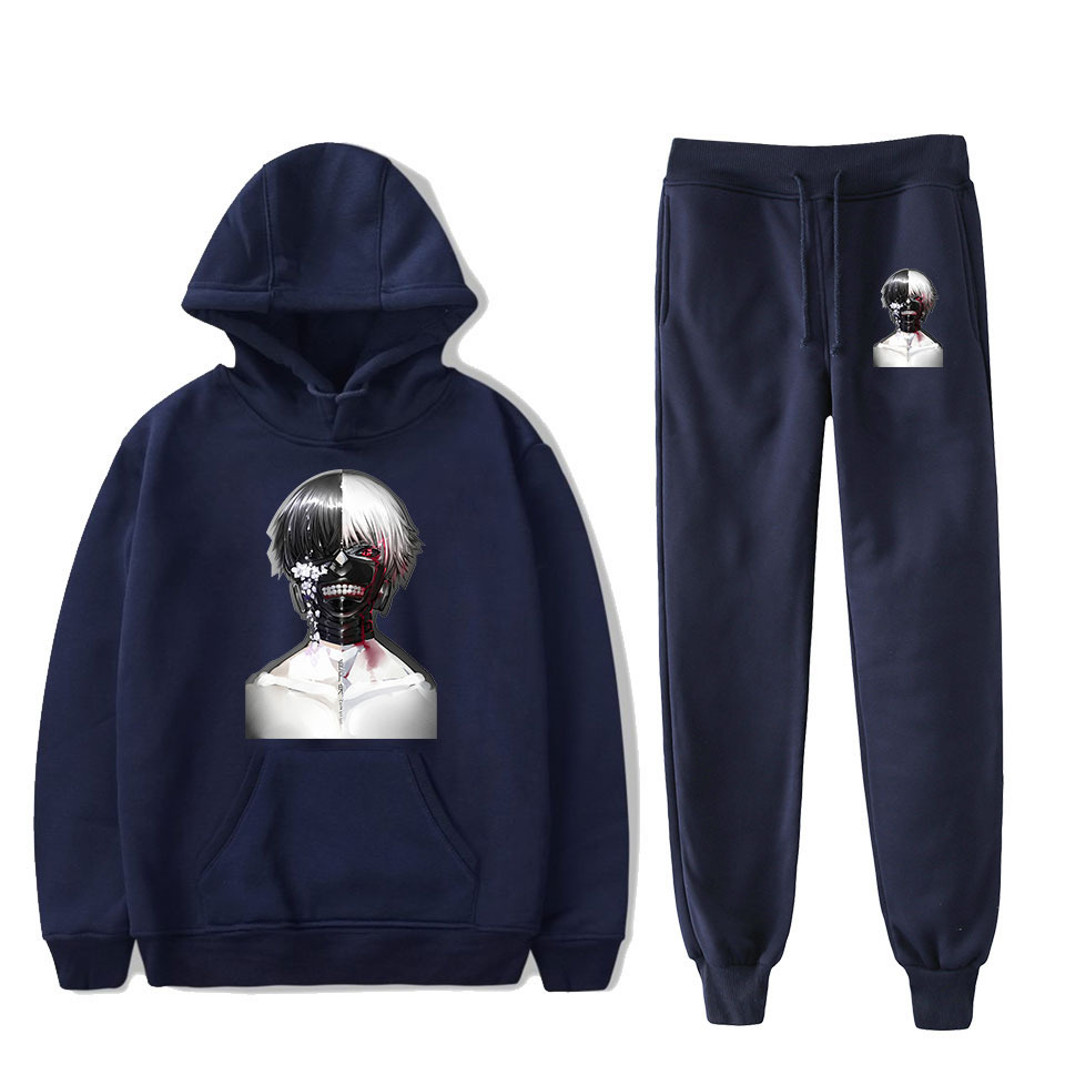 Hot Sales New Style Japan Popularity Anime Tokyo Cannibalize Kind Printed Hooded Sweater + Ankle Banded Pants Sports Set