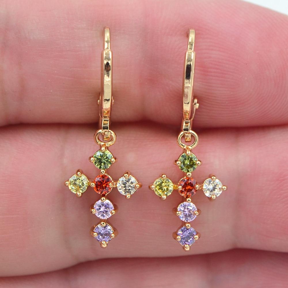 Brincos de zircônia, joias de moda douradas e coloridas de zircônia, cruz, brincos pendurados para mulheres