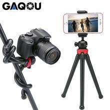 GAQOU taşınabilir Tripod esnek ahtapot seyahat Mini cep telefonu Tripod braketi Monopod iPhone için Selfie sopa DSLR kamera Gopro