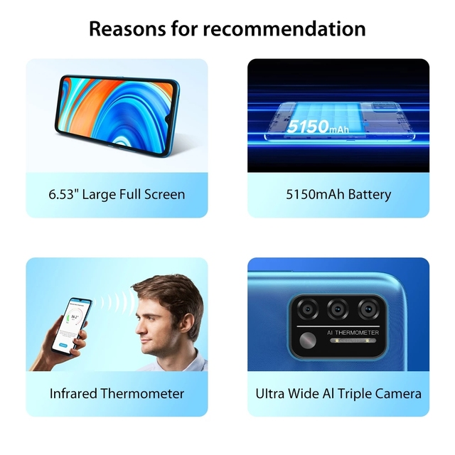 "Original UMIDIGI A9 Global Version Android 11 3GB 64GB 13MP AI Triple Camera Helio G25 Octa Core 6.53"" HD+ 5150mAh Cellphone 2"