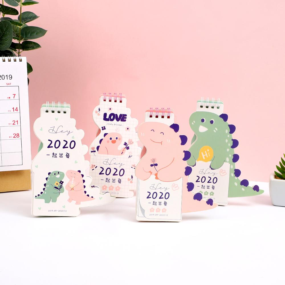 JIANWU 1pc Agenda 2019 2020 Cute Dinosaur Mini Desk Calendar DIY Cartoon Portable Calendars Kawaii Schedule Planner