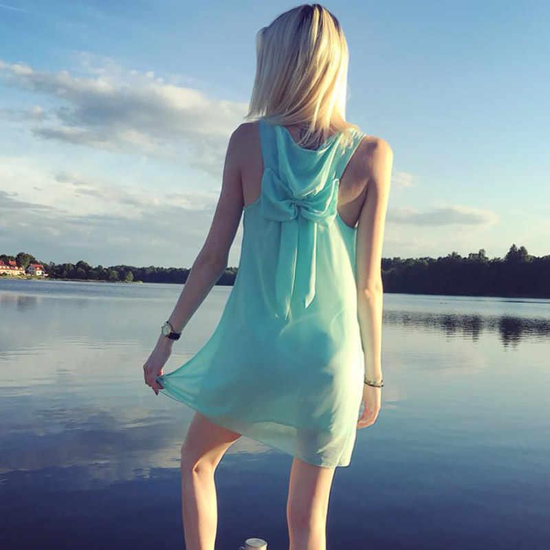 여름 드레스 2020 패션 보우 캐주얼 여성 sundress 솔리드 컬러 비치 드레스 쉬폰 드레스 여성 의류 vestidos 플러스 크기