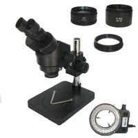 Luzes conduzidas ajustáveis da ampliação contínua do zumbido do microscópio industrial 7-45x do microscópio estereofónico binocular do suporte da tabela da coluna
