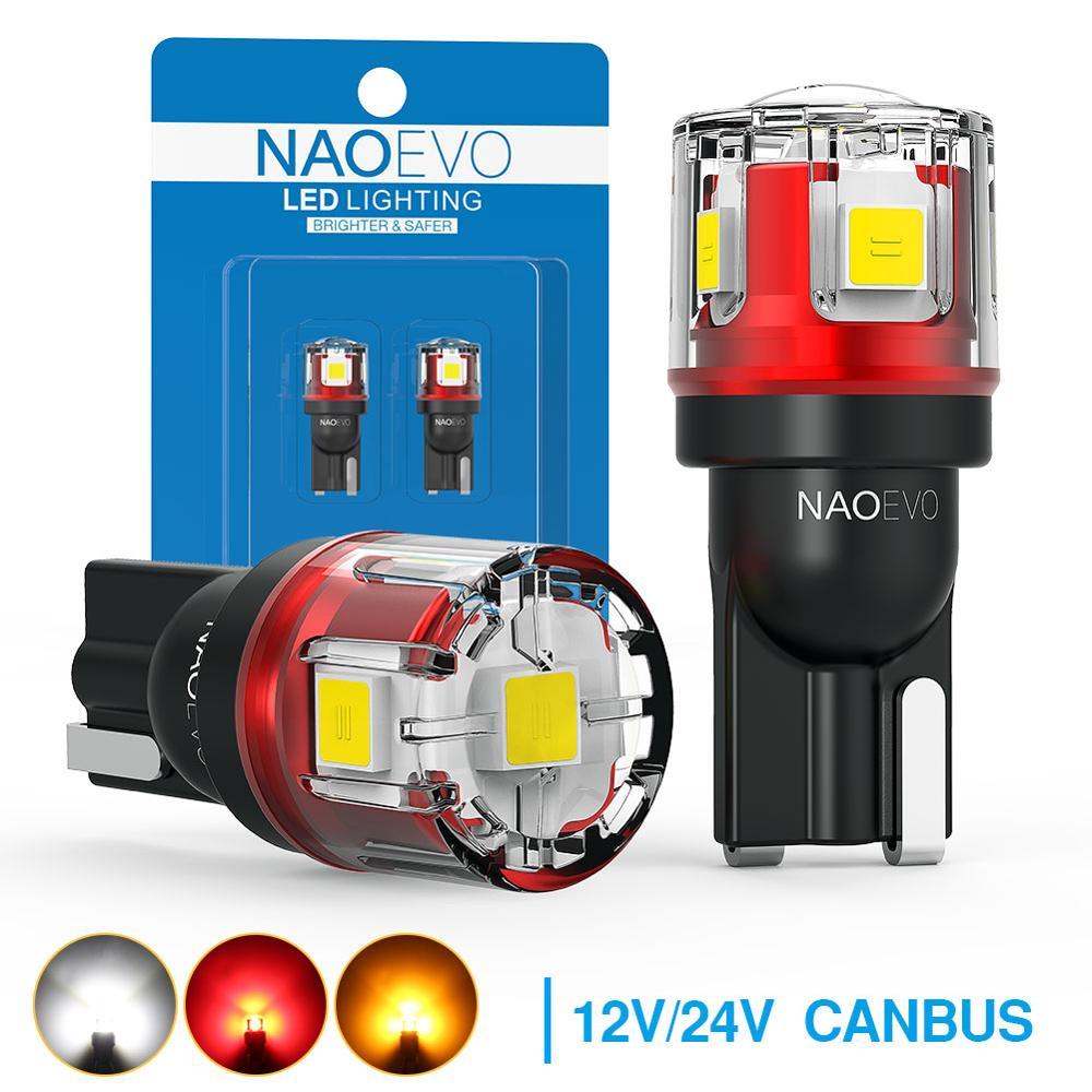 Светодиодсветодиодный CAN-шина NAOEVO T10 W5W, без ошибок, 12 В, 24 В, 5W5, 5 Вт, 750 лм, сверхъярсветильник лампа для салона автомобиля, 194 WY5W, боковая лампа ...