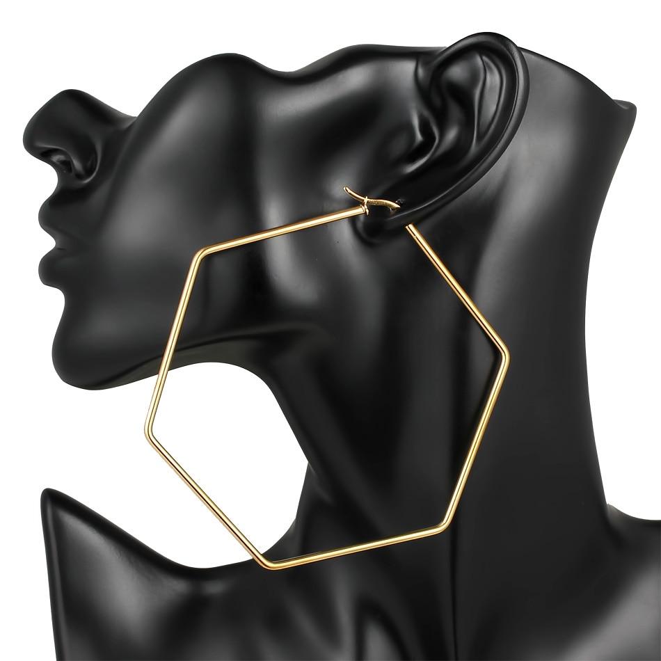 Width 40MM/60MM/80MM Stainless Steel Large Earrings For Women Gold Geometry Hexagon Big Earring 2019 Fashion Jewelry Wholesale