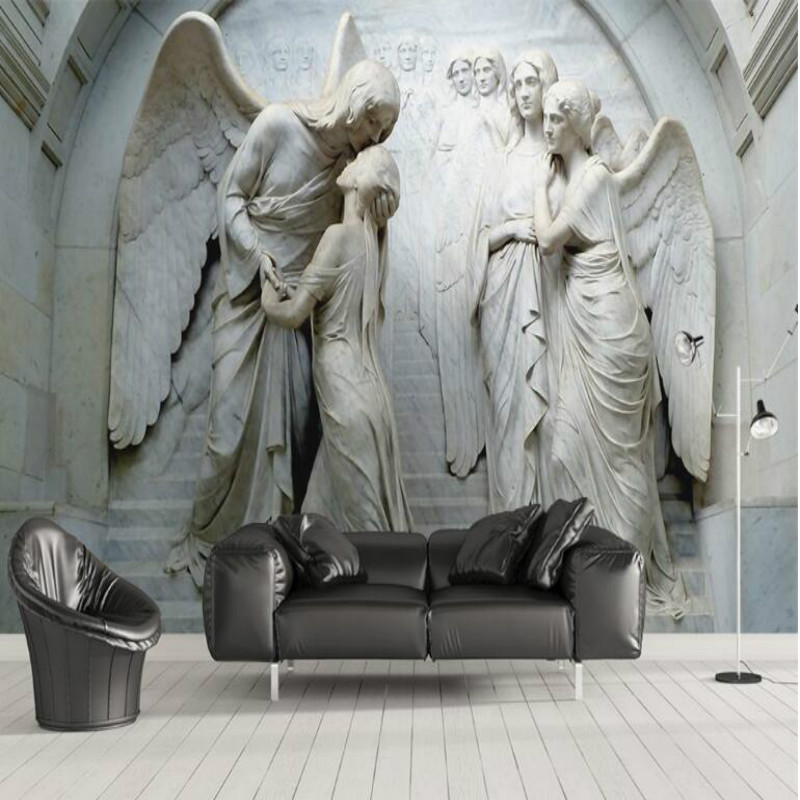 3D Gray Embossed Classical Angels Photo Wallpaper For Walls Modern Abstract Art Mural Papel De Parede 3D Wall Papers Home Decor