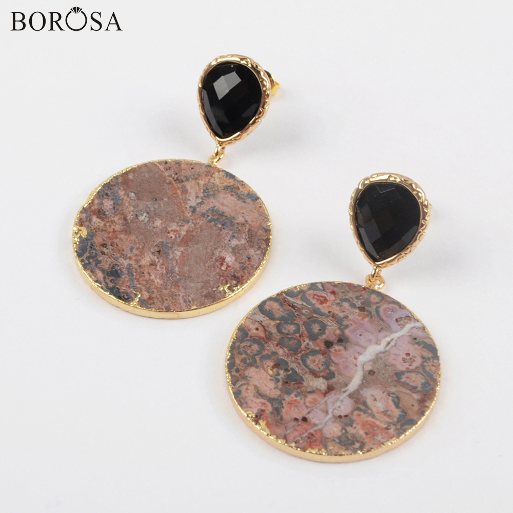 BOROSA 5Pairs Fashion Gold Plating 30mm Round Natural Jaspers Earrings Mixed Colors Gems Stone Drop Earring Jewelry WX1175 in Drop Earrings from Jewelry Accessories