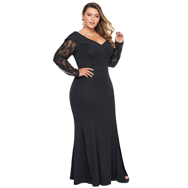 Elegant Plus Size Beaded Off Shoulder Women Dress