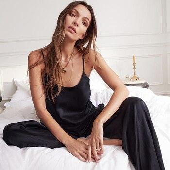 HiLoc Backless Satin  Pajamas Black Lace Pajamas With Pants Loose Spaghetti Strap Intimate Lingerie Sleepwear Women Pj Set