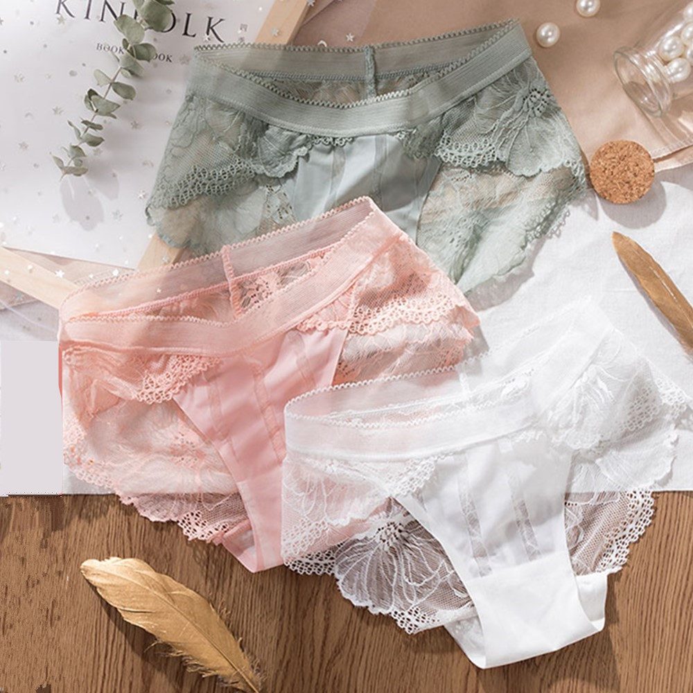 3pcs Sexy Lace Panties For Women Underwear Fashion Panty Lingerie Breathable Hollow Out Briefs Low-Rise Panties Female Underwear