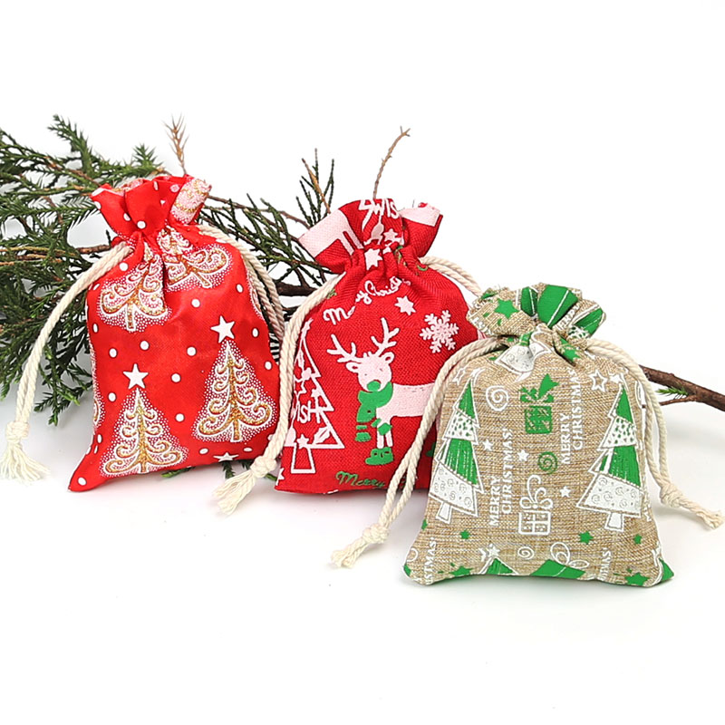 9 * 12cm Imitation Linen Printing Drawstring Bag Cartoon Christmas Gift Bag Cute Pattern Holiday Beam Bag 100pcs