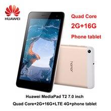 هاتف HUAWEI MediaPad T2 بشاشة 7.0 بوصة LTE 4G بمعالج رباعي النواة وذاكرة وصول عشوائي 2 جيجا وذاكرة قراءة فقط 16 جيجا وذاكرة قراءة فقط Andriod 6 2MP وبطارية 4100 مللي أمبير في الساعة IPS T2 كمبيوتر لوحي بشاشة 7 بوصة