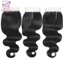 Linkelin cabelo peruano fechamento da onda do corpo livre/meio/três parte mão amarrada 100% remy cabelo humano 4*4 fechamento do laço cor da natureza