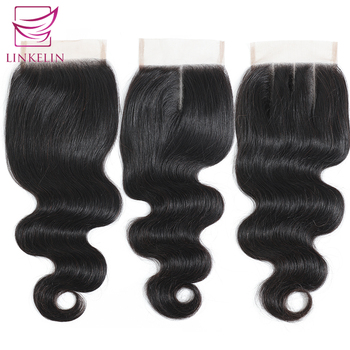 цена на LINKELIN HAIR Peruvian Body Wave Closure Free/Middle/Three Part Hand Tied 100% Remy Human Hair 4*4 Lace Closure Nature Color