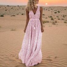Vintage Women Polka Dot Dresses Women Summer Sleeveless Beach Dress For Women Fashion Print V Neck Long Dress S-2XL