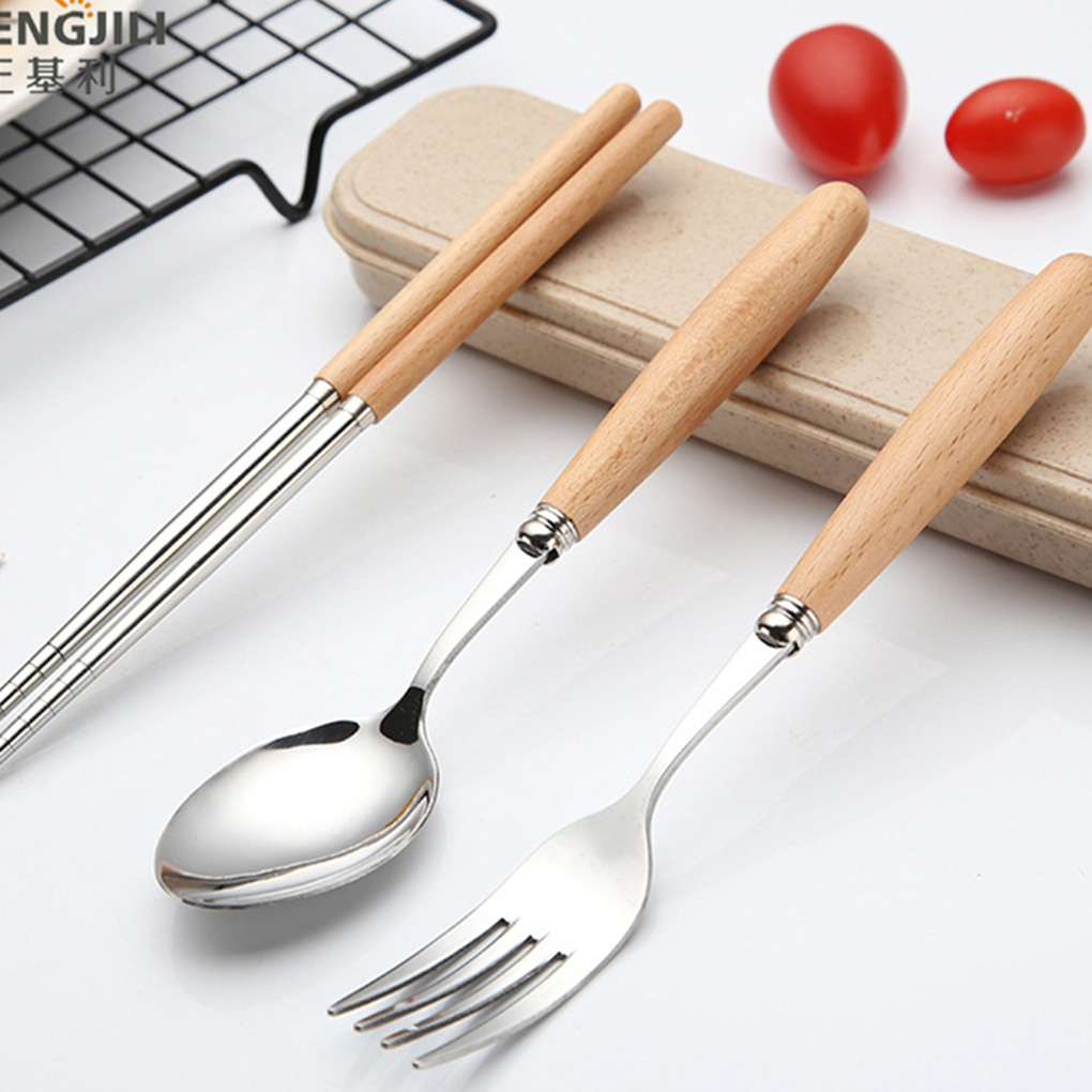 FenKicyen Wood Handle Dinnerware Set Stainless Steel Spoon Fork Chopsticks Set Portable Travel Camping Picnic Dinnerware Set New