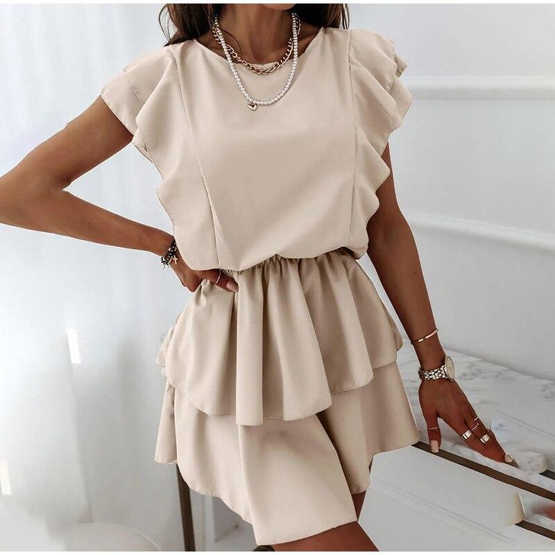 Женское мини-платье с круглым вырезом, повседневное однотонное платье без рукавов с оборками, одежда для офиса, Новинка лета 2021