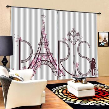 Customized size Luxury Blackout 3D Window Curtains Beautiful Photo Fashion Customized 3D Curtains romantic tower curtains