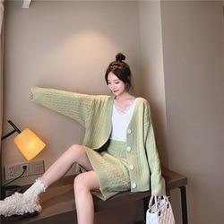 2019 Autumn New Style Soft Milk Blue Sweater WOMEN'S Cardigan Tops Set Early Autumn Skirt Knitted Piece Korean