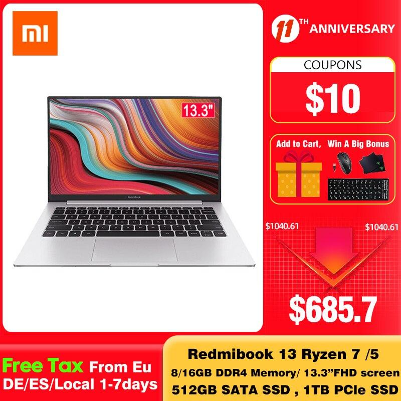 Xiaomi RedmiBook 13 Laptop Ryzen Edition With AMD Ryzen 4700U/4500U 13.3 Inch Display USB3.1 8GB/16GB DDR4 1TB/512GB SSD 1