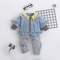 Hot Baby Winter Clothes 2pcs Set Infant Toddler Wear Children Thick Princess Lace Coat for Girls Spring Lovely Tops Pants Suit