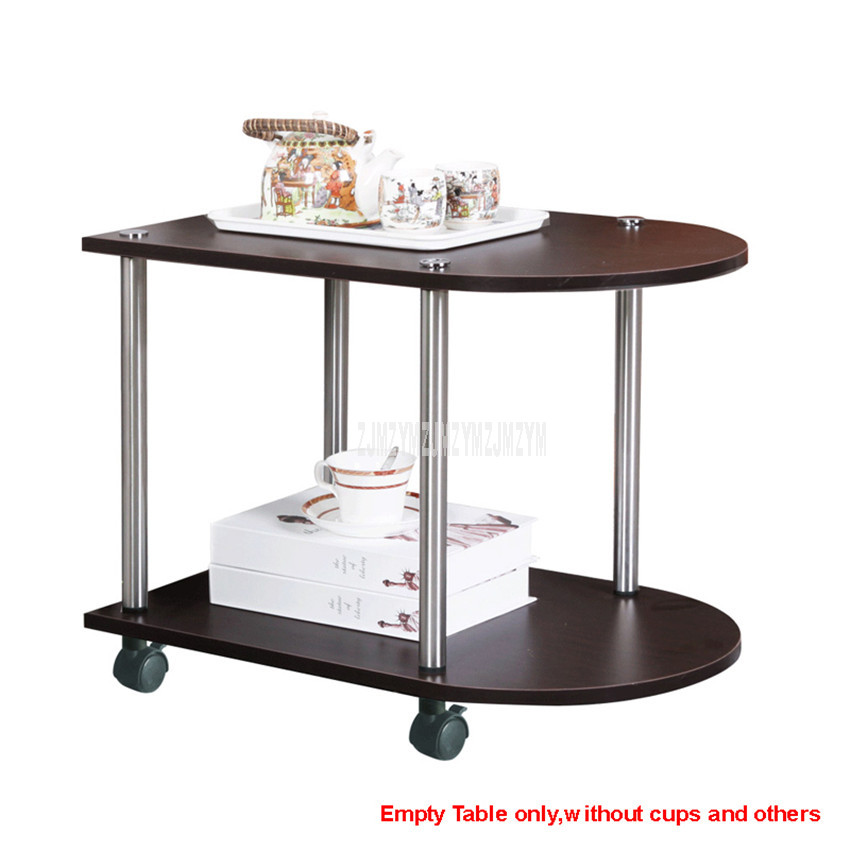 2 Layer Multi-functional Balcony Movable Tea Table With Wheel Design Living Room Bedroom Sofa Side Corner Modern Low Table