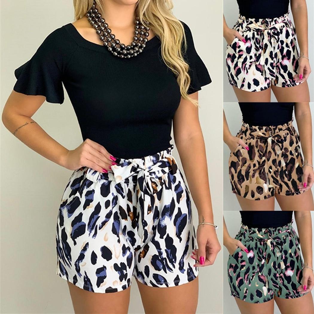Boho Floral Print Women Summer Tassels Shorts Leopard Loose Casual Short Pants