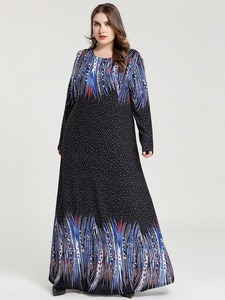 Image 5 - Printed Abaya Muslim Dress Arabic Floral Abayas Kaftan Dubai Maxi Dresses for Women vestidos baju muslim pesta Black+Blue M 4XL