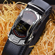 Leather Belts for Men 3.5cm Width Sports Car Brand Fashion Automatic Buckle Black Leather Belt Men's Belts Cow