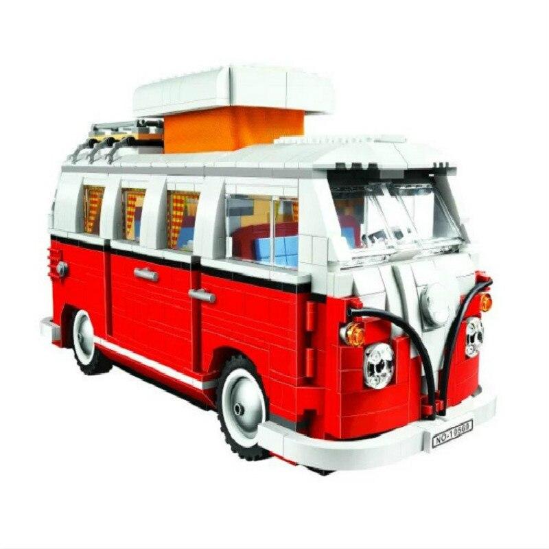 En Stock 21001 T1 camping-car classique Bus modèle 1342 pièces série créateur blocs de construction jouet Compatible avec toutes les marques 10220