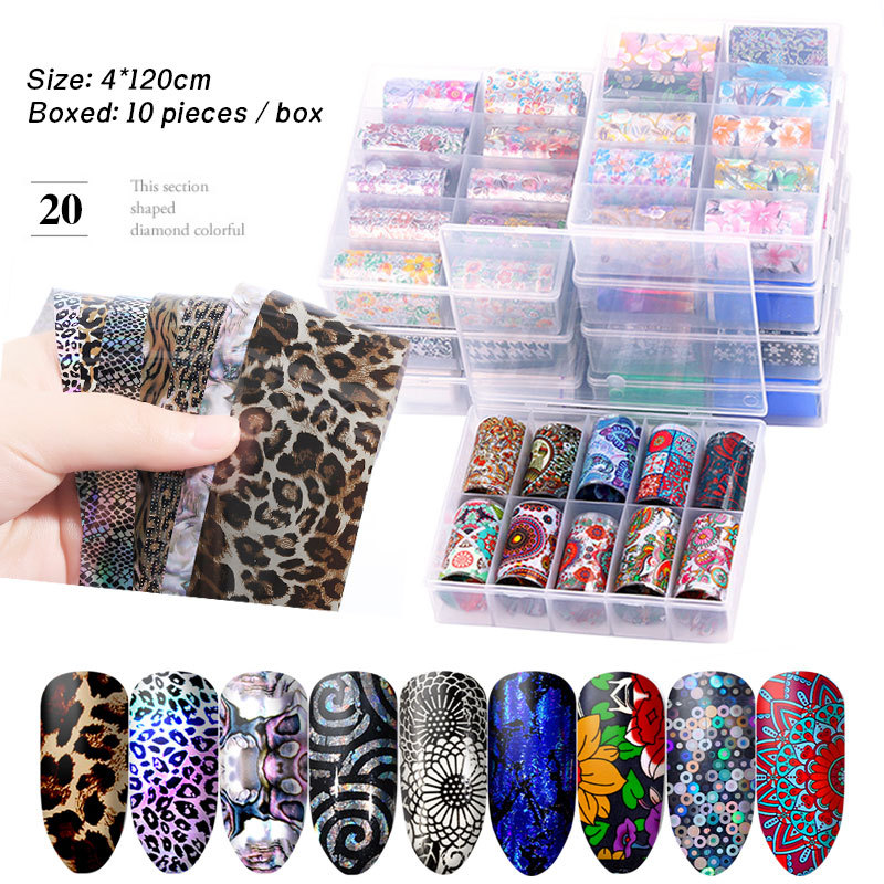 Manicure Star Sticker Set Star A Adhesive Paper Transfer Paper Colorful Laser Star Paper 10-Mixed 4 Cm